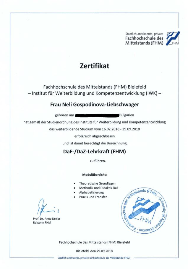 Zertifikat Lehrkraft DaF/DaZ